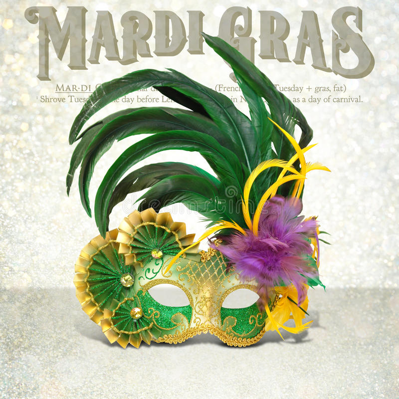 New Orleans Mardi Gras Mask Collection. New Orleans iconic masks for Mardi Gras with glitter background for invitation and poster designs royalty free stock photography