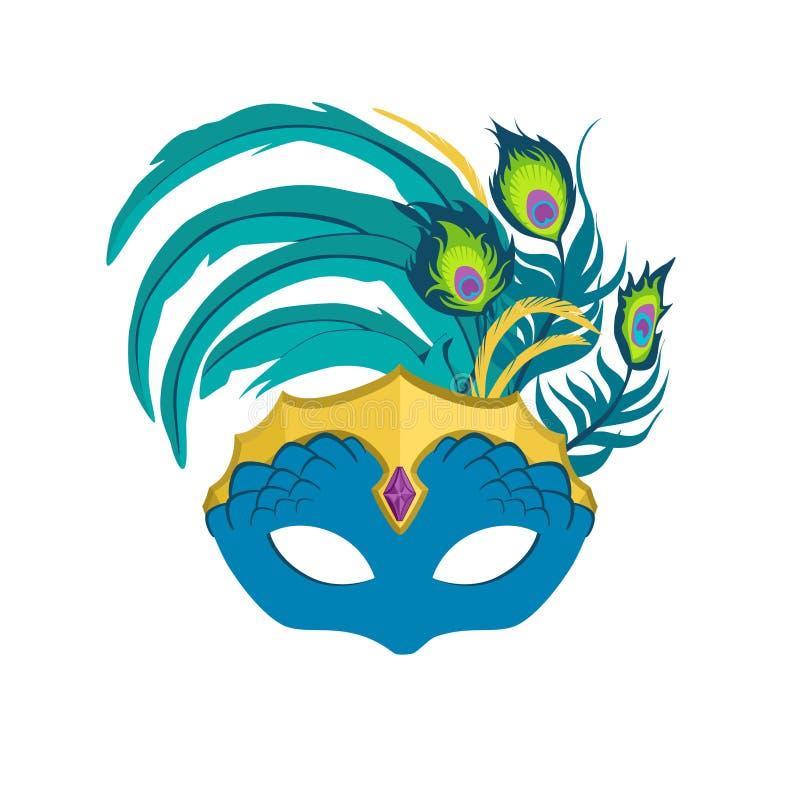 New Orleans Mardi Gras Peacock Mask royalty-vrije illustratie