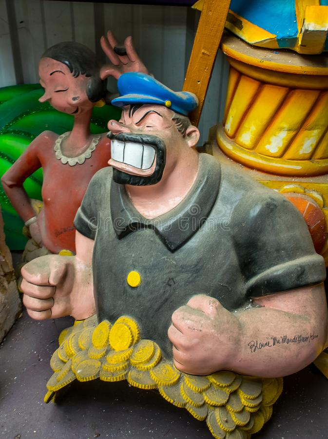 New Orleans Mardi Gras World - Brutus and Olive Oyl royalty free stock image