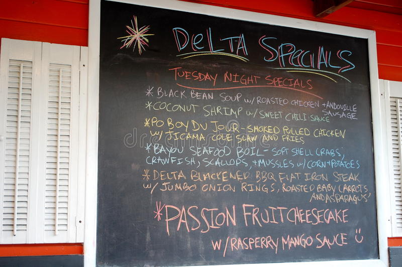 New Orleans Menu. Regional specialties of New Orleans on a chalkboard menu royalty free stock images
