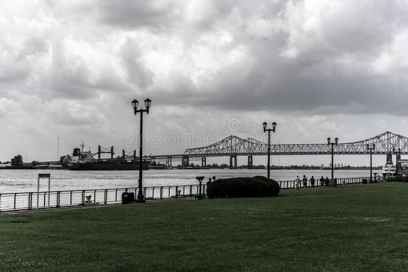 New Orleans Mississippi River and Bridge stock photography
