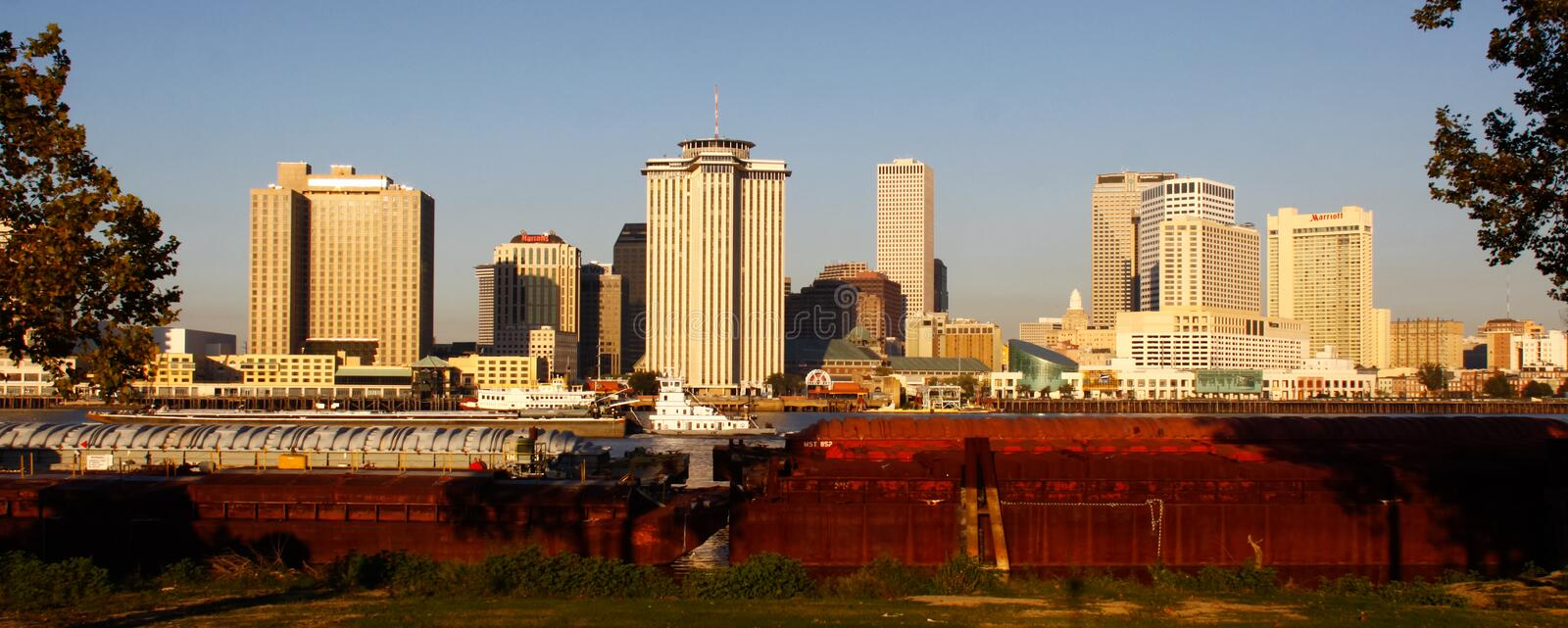 New Orleans - Morning Skyline from Algiers. A shot from the levy along the edge of the Mississippi River in Algiers, across from downtown New Orleans stock photos