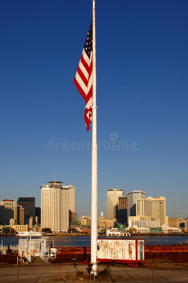 Download New Orleans - Morning Skyline American Flag Editorial Stock Image - Image: 22965894