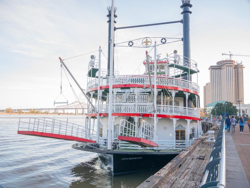 New Orleans, Louisiana, USA. December 2019.New Orleans paddle steamer in Mississippi river in New Orleans, Lousiana royalty free stock photo