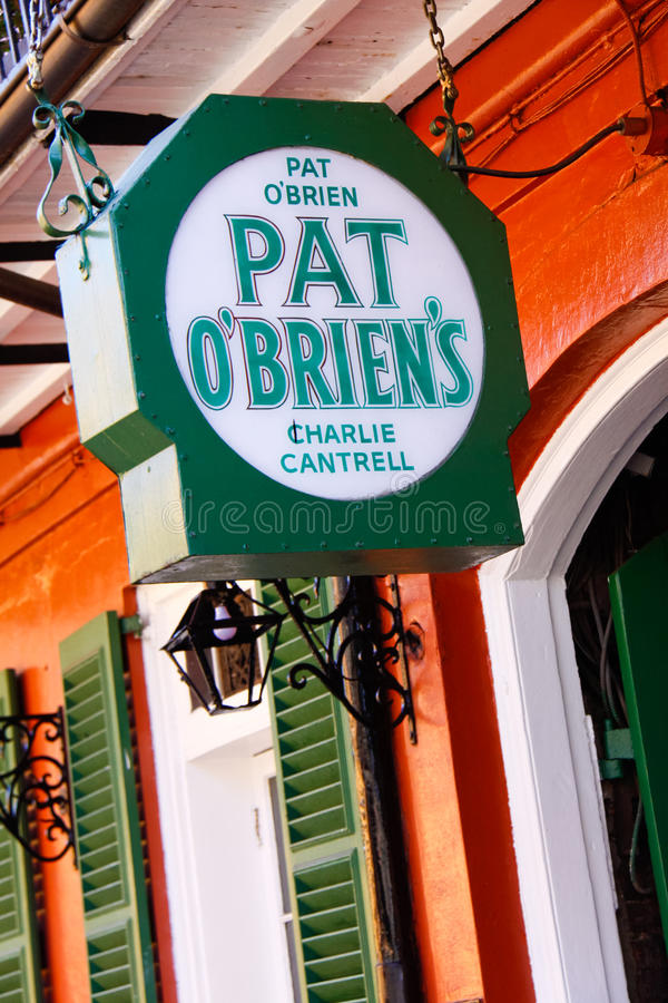 New Orleans Pat OBriens Bar Charlie Cantrell. The sign which hangs outside of world famous Pat O'Brien's bar, a local landmark known for it's dueling piano bar stock photography
