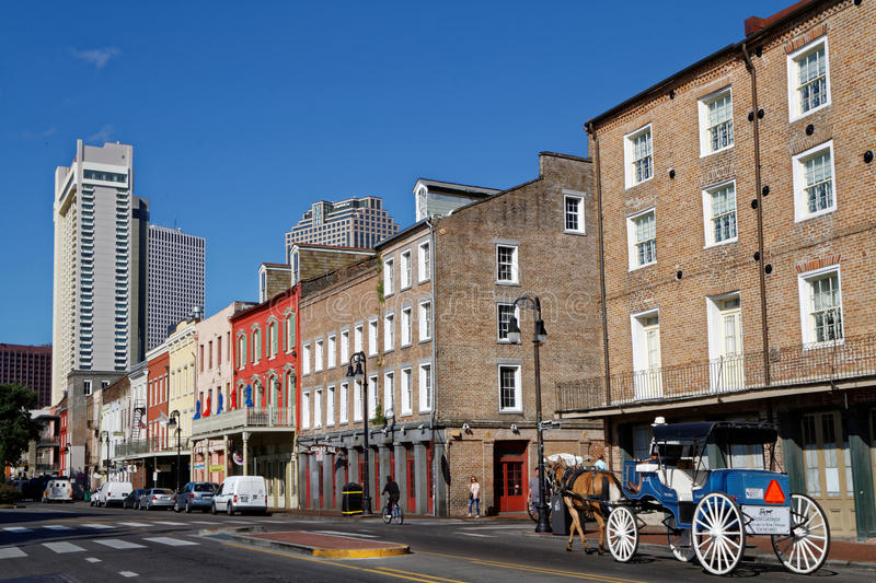 New Orleans's Decatur street. NEW ORLEANS, LOUISIANA, May 5, 2015 : New Orleans is a major United States port and the largest city in the state of Louisiana. The stock photo