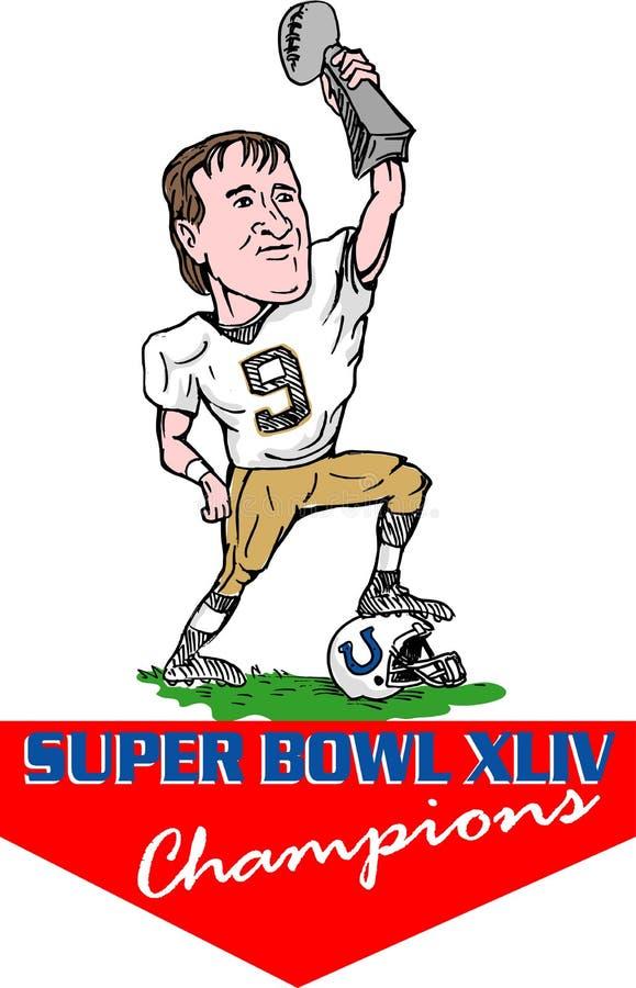 New Orleans Saints super bowl. Cartoon illustration of New Orleans Saints quarterback Drew Brees holding up the Vince Lombardi Trophy after the Saints win 31-17
