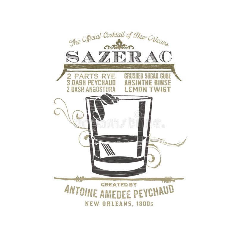 New Orleans Sazerac stock illustrationer