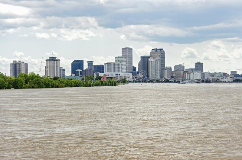 New Orleans Skyline and Algiers Point on Mississippi River stock photo