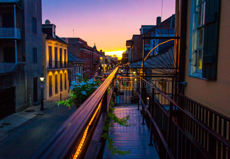 New Orleans solnedgång royaltyfri foto