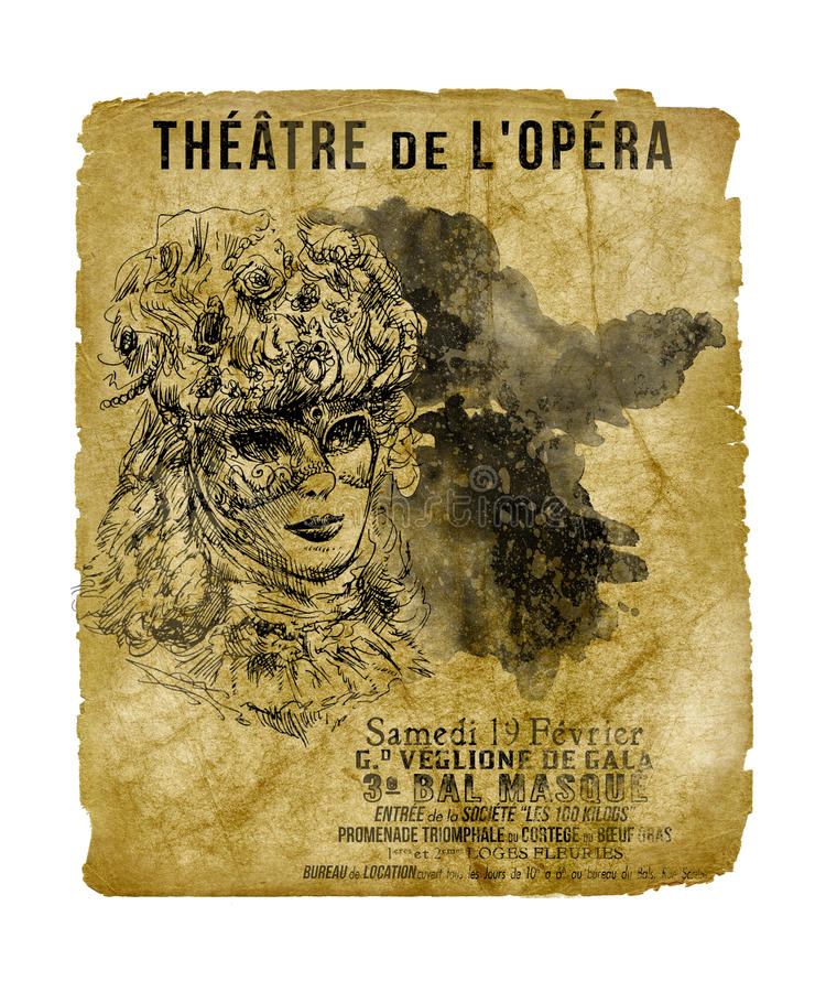 New Orleans St Charles Theater Opera Flyer. Vintage Antique Style Opera Theater Flyer New Orleans at the St Charles Theater Louisiana royalty free stock photo