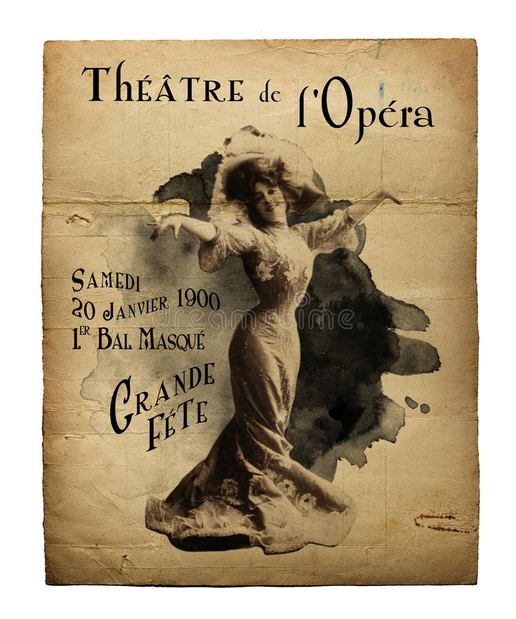 New Orleans St Charles Theater Opera Flyer. Vintage Antique Style Opera Theater Flyer New Orleans at the St Charles Theater Louisiana stock images