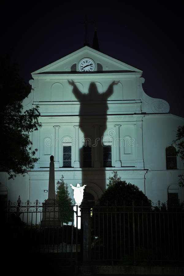 New Orleans - St. Louis Cathedral garden. Image of New Orleans St. Louis Cathedral garden at night stock photos