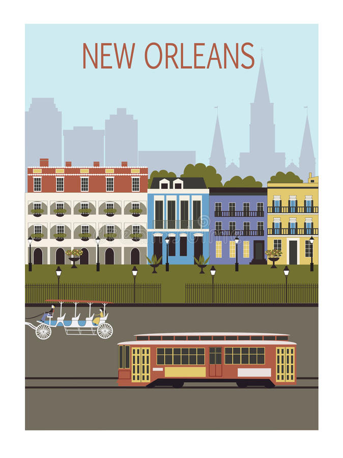 New Orleans stad. stock illustrationer
