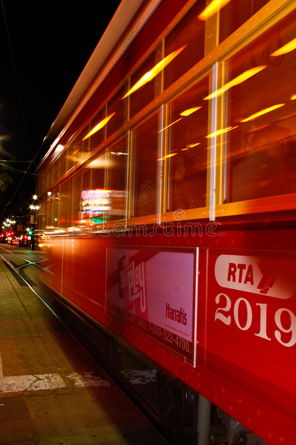 Download New Orleans Street Car At Night Editorial Stock Photo - Image: 22254233