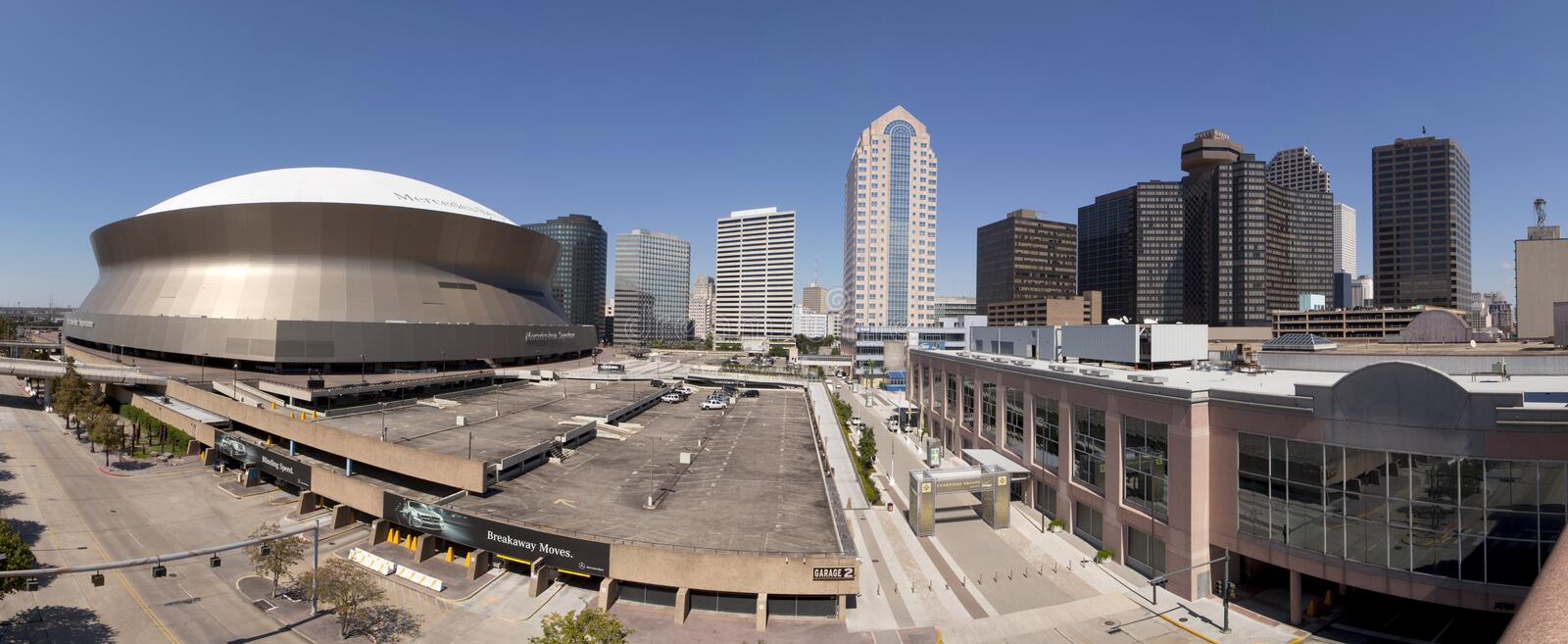 New Orleans and Superdome (panoramic) royalty free stock photos