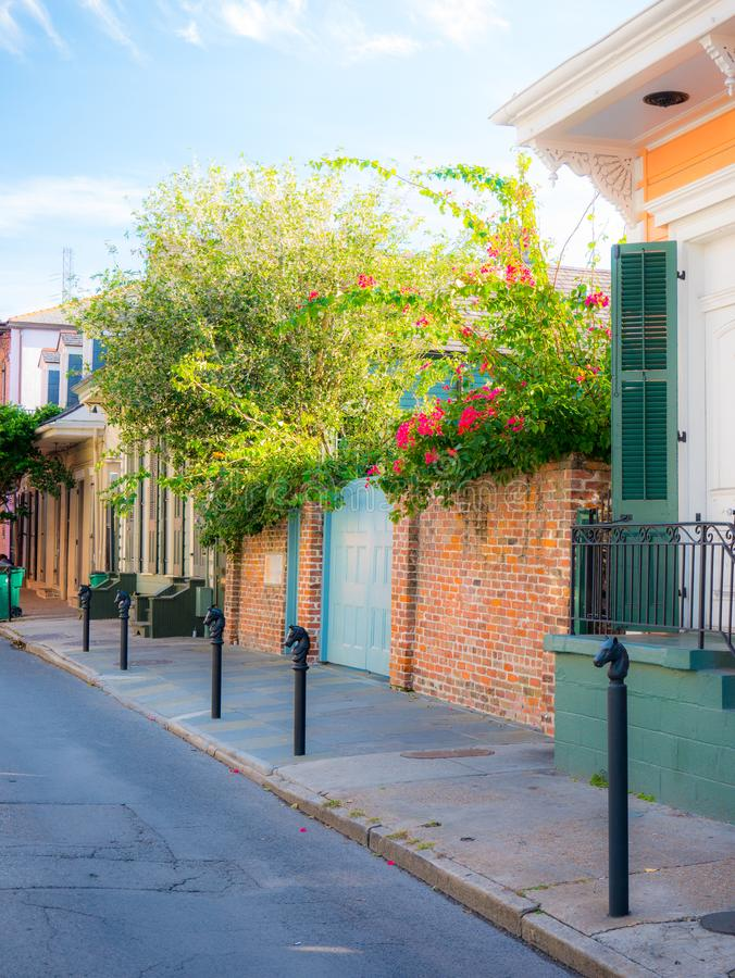 Free New Orleans, USA - April 22, 2018: Row Houses Of Traditional Architecture In Louisiana City On Street Sidewalk At French Quarter Stock Images - 166191644