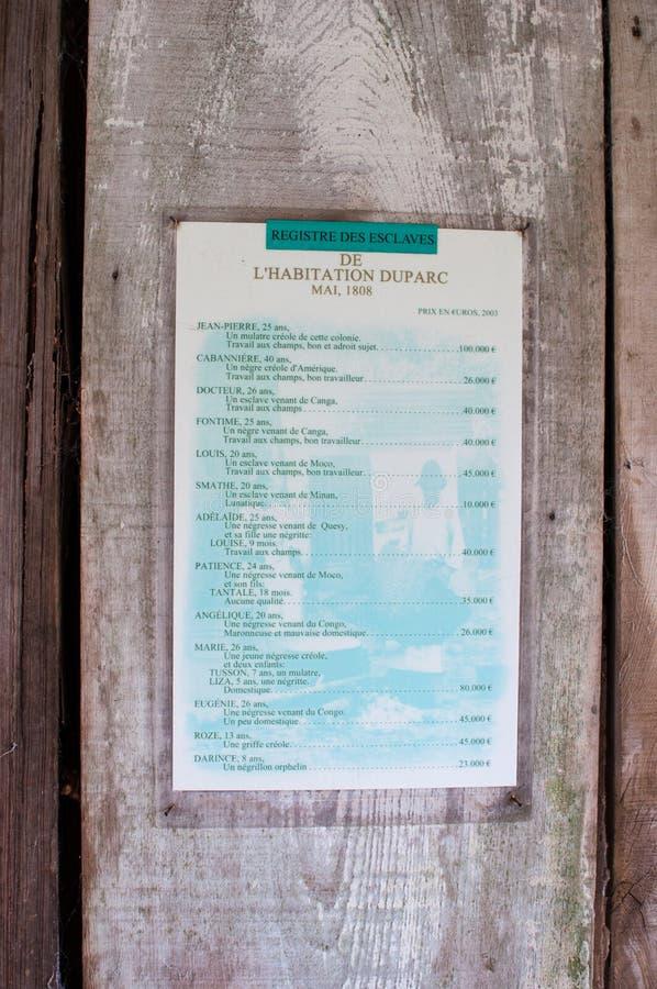 NEW ORLEANS USA - 2 JANUARI 2015: Slav- Registry på wood väggbakgrund på l `-boning Duparc royaltyfria bilder