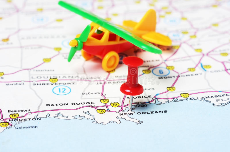 New Orleans USA Map Flight Stock Photo Image - New orleans usa map