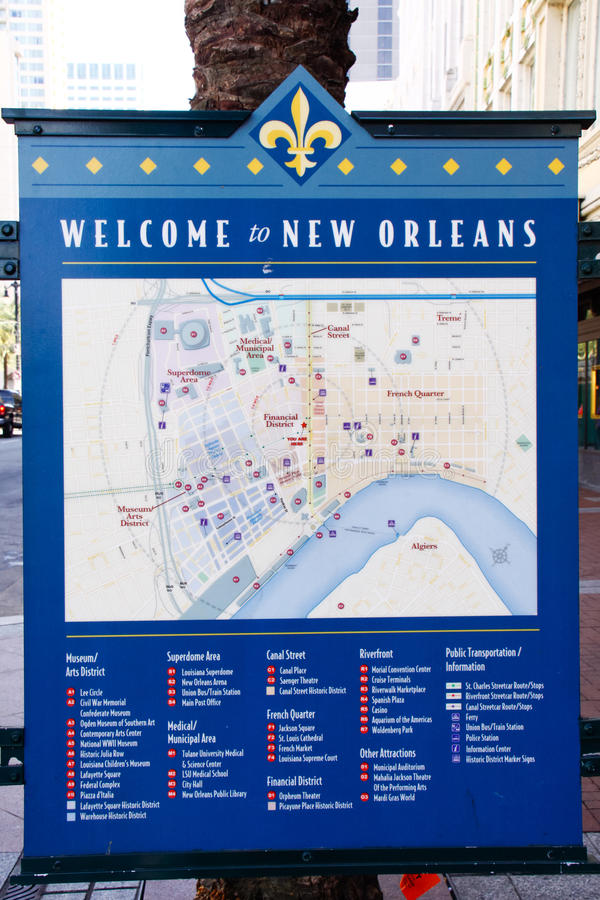Free New Orleans Welcome - Downtown Map Royalty Free Stock Photos - 22966068