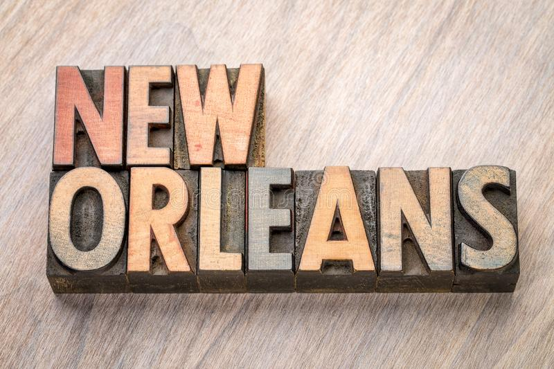 New Orleans word abstract in letterpress wood type. New Orleans word abstract in vintage letterpress wood type against grained wooden background royalty free stock photo