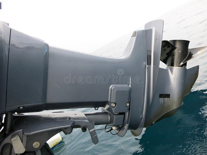 New outboard engine Yamaha 200 HP. Yamaha 200 HP outboard boat, two-stroke. Propeller detail royalty free stock image