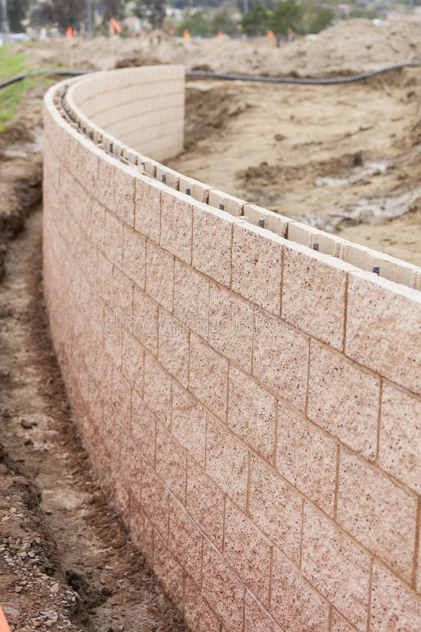 New Outdoor Retaining Wall Being Built royalty free stock photo