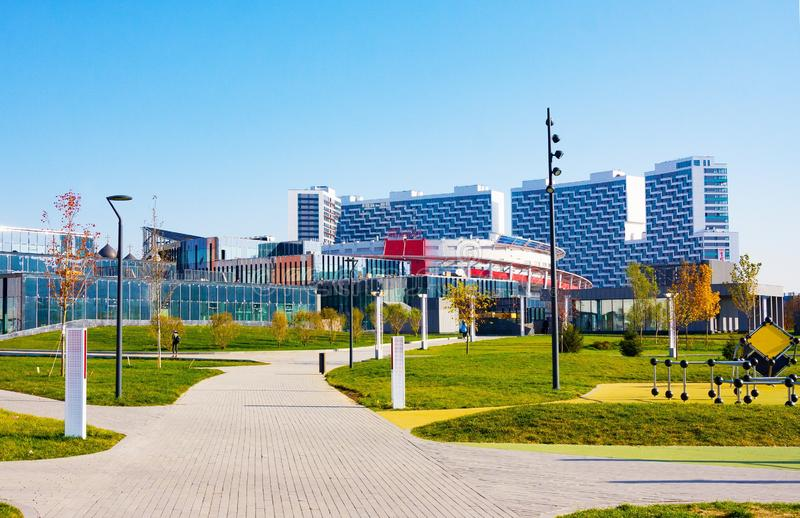 New park Khodynskoye field, residential building and sports Palace royalty free stock images