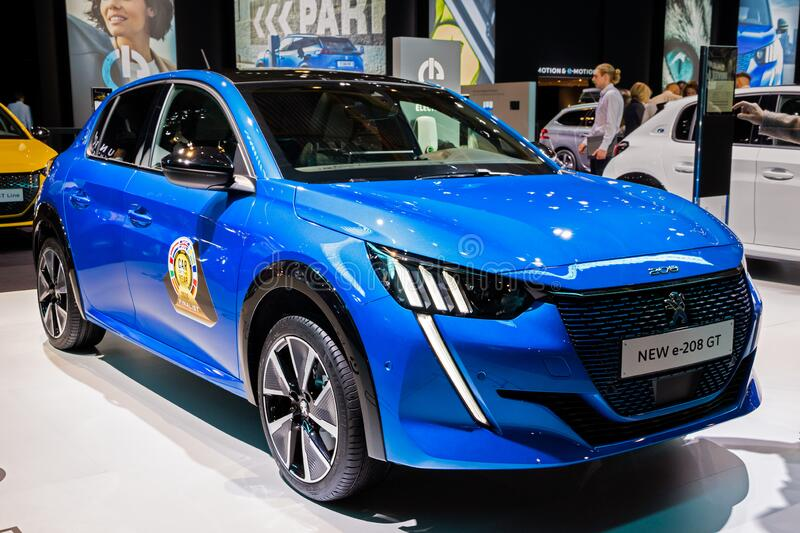 New 2020 Peugeot e-208 GT electric car. BRUSSELS - JAN 9, 2020: New 2020 Peugeot e-208 GT electric car model presented at the Brussels Autosalon 2020 Motor Show royalty free stock images