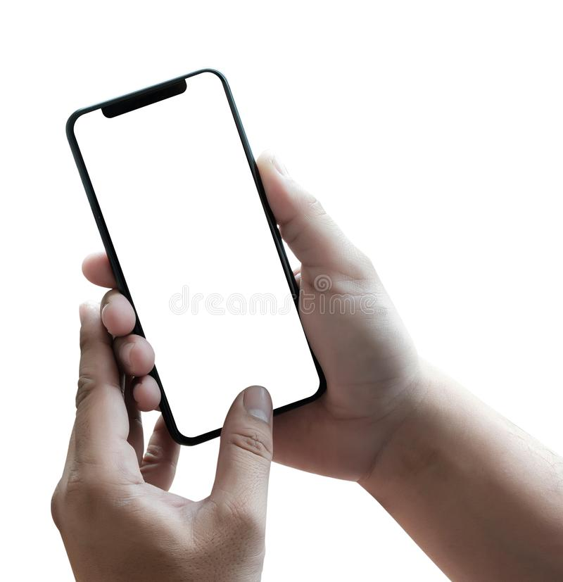 new phone Technology smartphone with blank screen and modern frame less design royalty free stock photo
