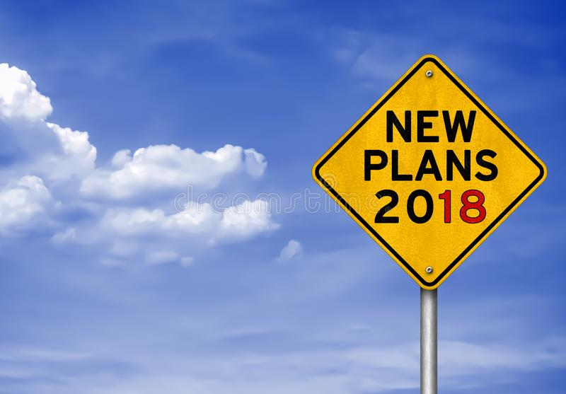 New Plans for 2018. Road sign concept royalty free stock image