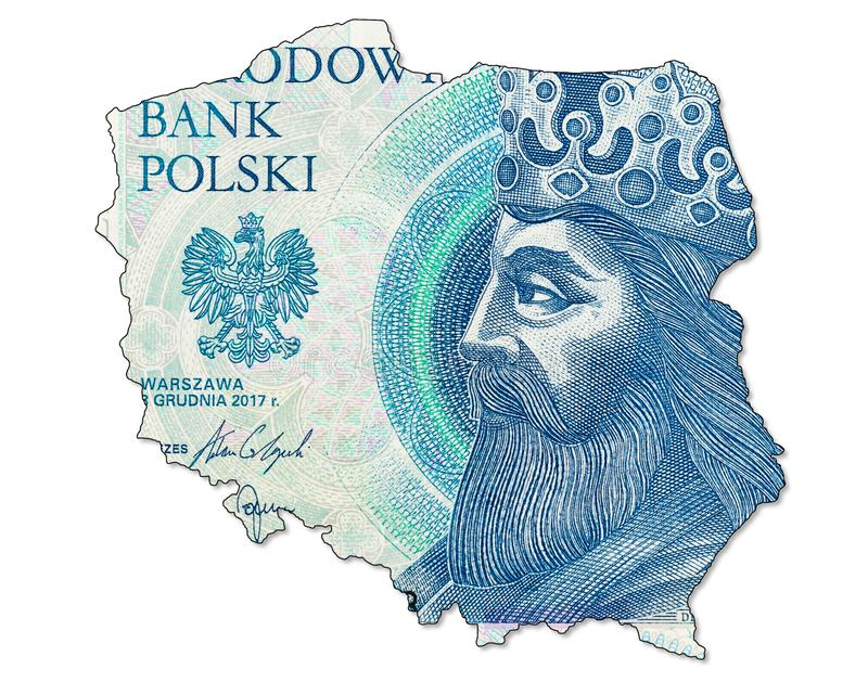 New 50 polish zloty banknote obverse in shape of Poland. A single new 50 polish zloty banknote obverse in shape of Poland stock photo
