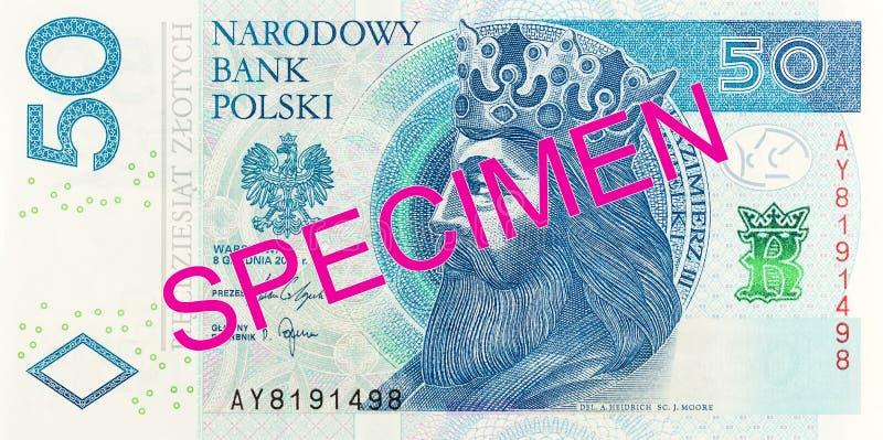 New 50 polish zloty banknote obverse specimen. Single new 50 polish zloty banknote obverse specimen stock images