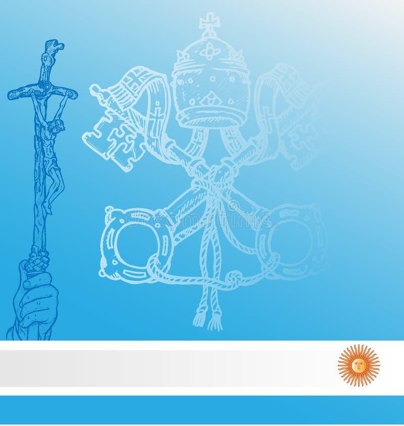 Vatican symbols whit argentina flag royalty free illustration