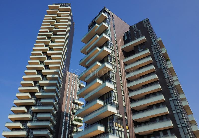 MILAN, ITALY, July  4, 2019: New Porta Nuova district. New Porta Nuova district, modern skycraper, Lombardy, Italy royalty free stock images