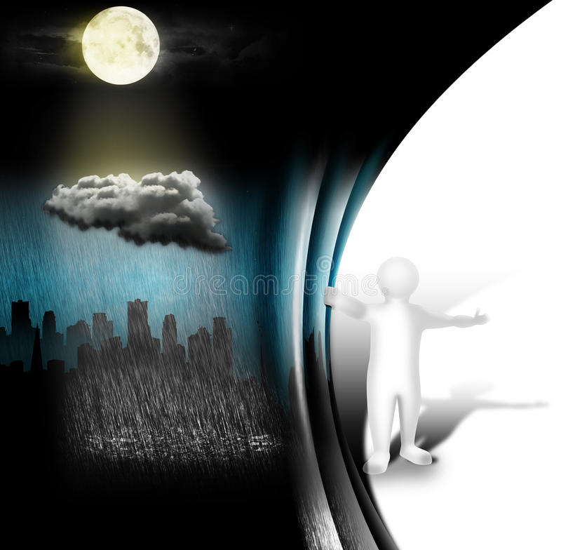 New possibilities. A person pushes the curtain and the grayness of life stock illustration