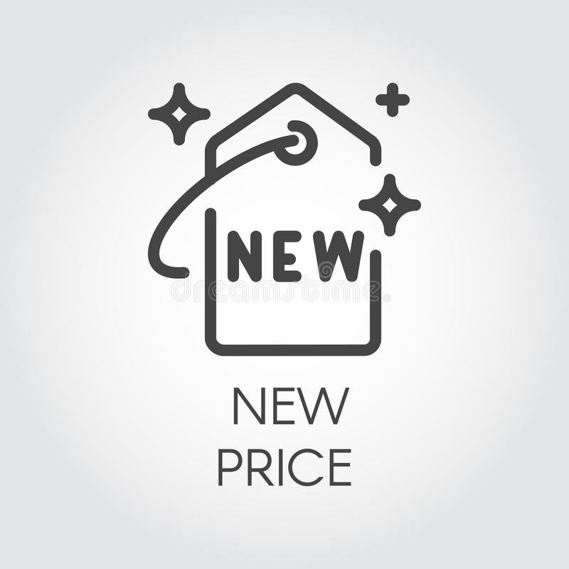 New price contour icon. Badge price-tag for online and offline stores, sites and mobile apps. Marketing sign stock illustration