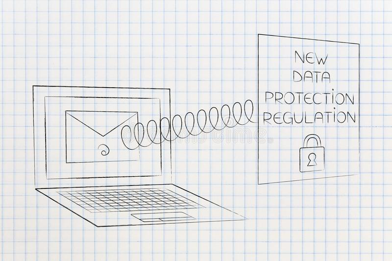 New privacy text popping out of laptop screen with email on it. New data protection regulations conceptual illustration: new privacy text popping out of laptop stock images