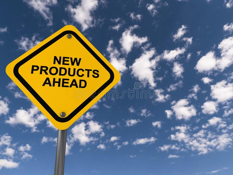 New product ahead traffic sign. New product ahead ahead traffic sign on blue sky stock photos