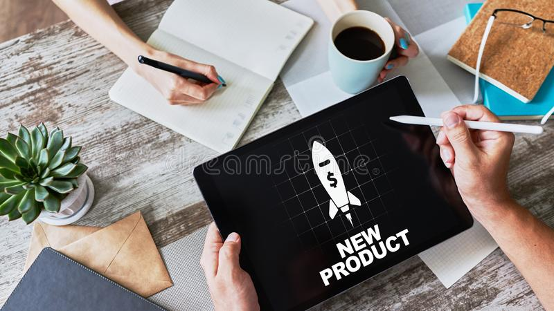 New product development business concept on device screen. New product development business concept on device screen royalty free stock images