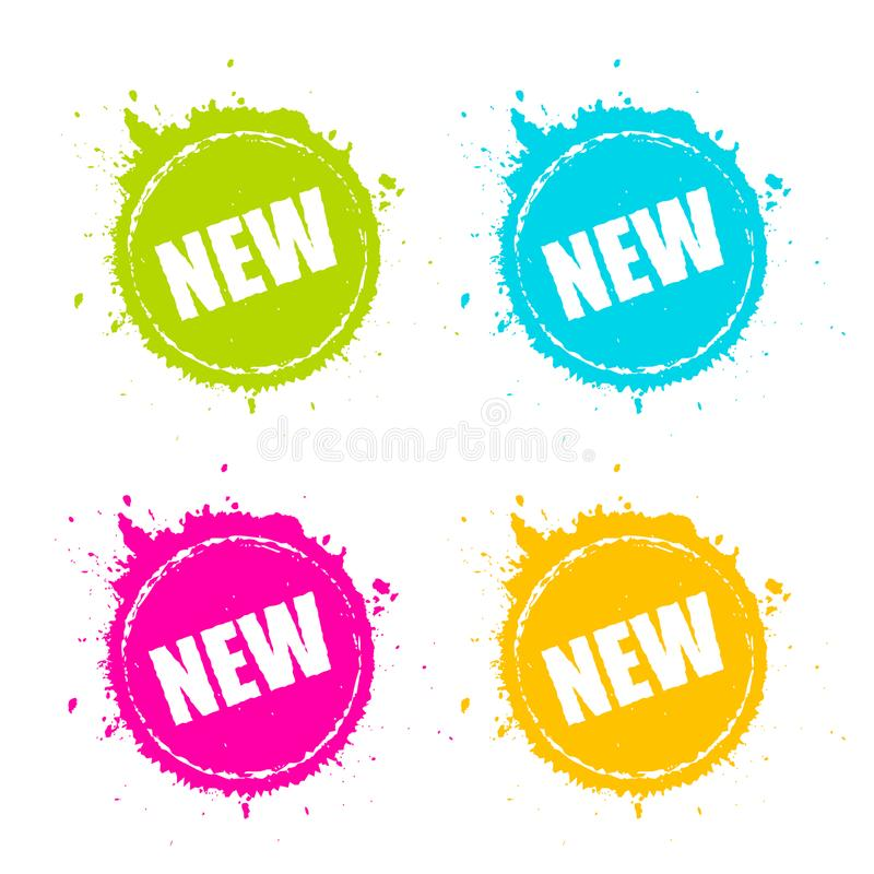 New product promotion splattered vector icon royalty free illustration