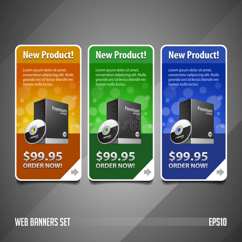 New Product Round Corners Banners Set Vector Colored Version 2 vector illustration