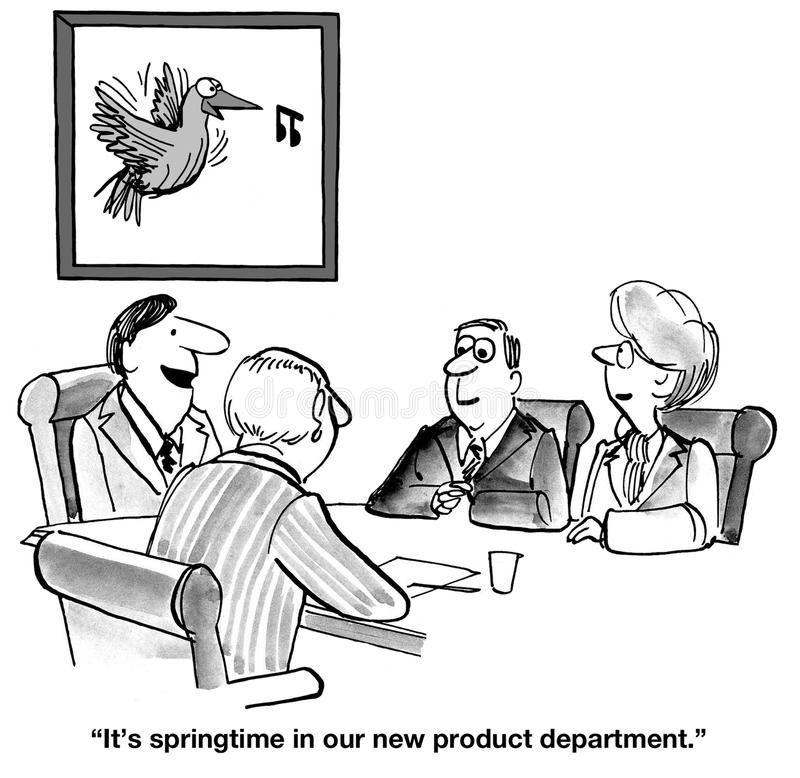 New Products. Business cartoon about the new products department royalty free illustration