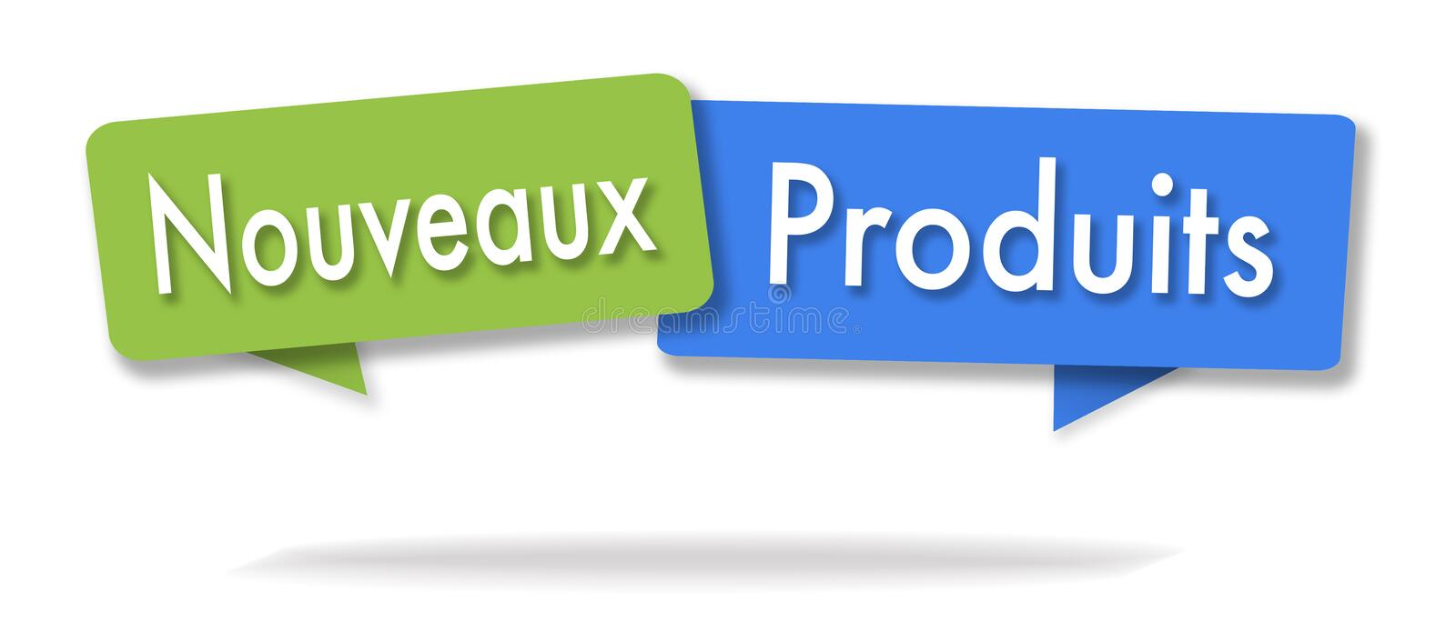 New products illustration in two colored bubbles. In French blue and green stock illustration