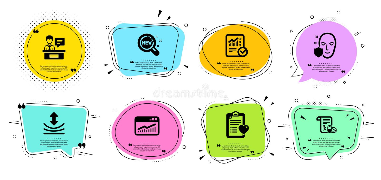 New products, Patient history and Medical prescription icons set. Vector. New products, Patient history and Medical prescription line icons set. Chat bubbles stock illustration