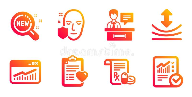 New products, Patient history and Medical prescription icons set. Vector. New products, Patient history and Medical prescription line icons set. Resilience royalty free illustration