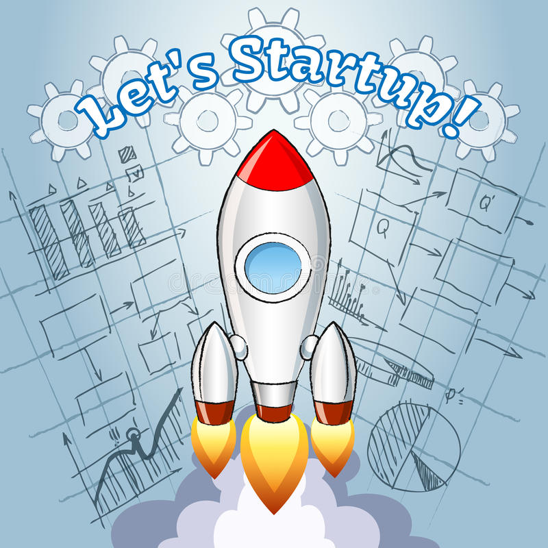 New project ideas concept stock vector illustration of project new project ideas concept with a cartoon vector rocket turbo boosting into space over a blueprint or diagram of a planned new innovative business project malvernweather Gallery