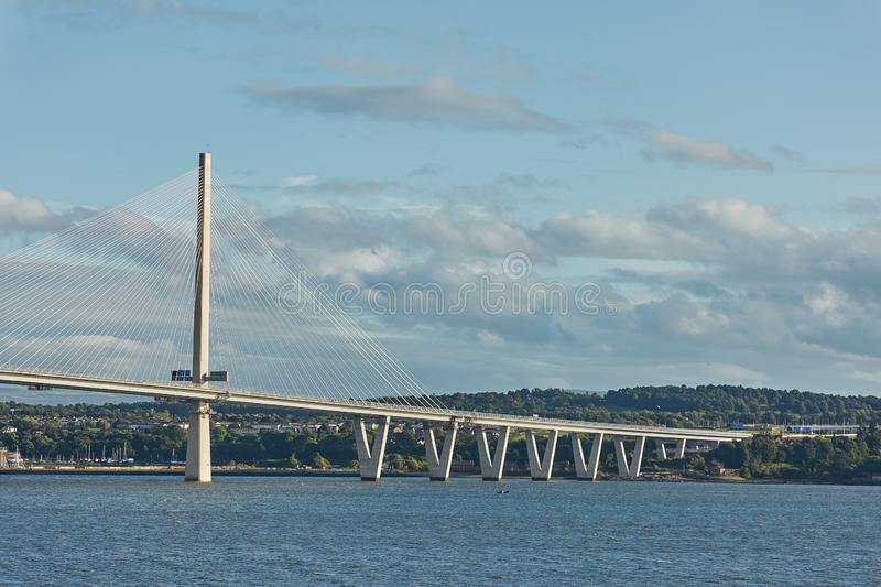 The new Queensferry Crossing bridge over the Firth of Forth in Edinburgh Scotland.  stock photography