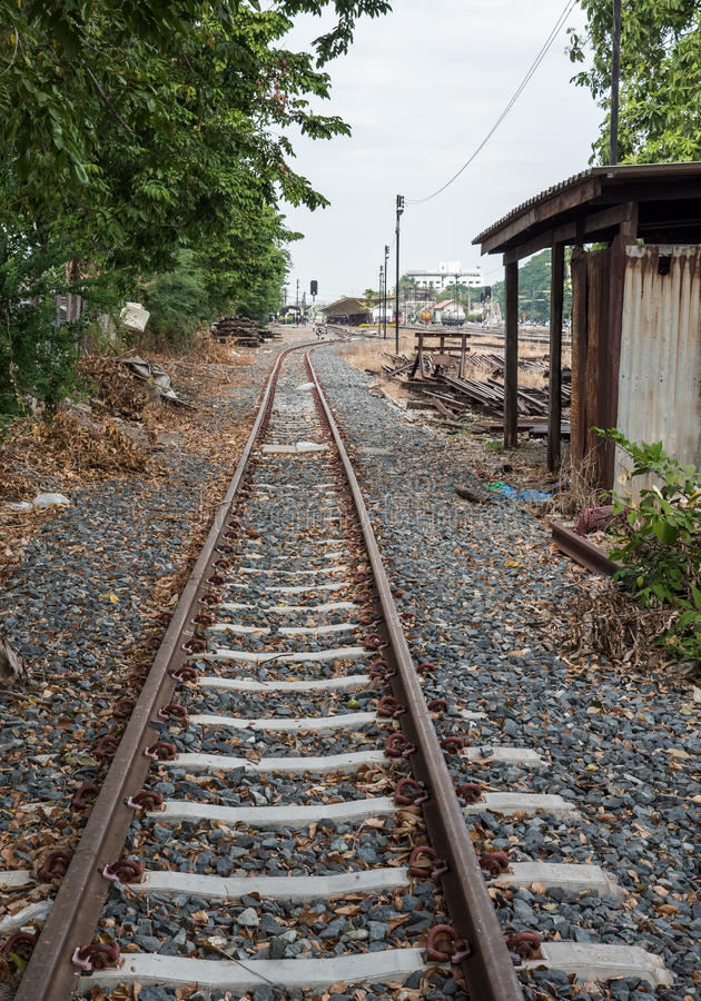 New railway line from the side yard. royalty free stock images