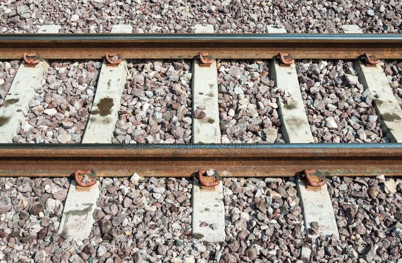 New railway track with the concrete sleeper. stock images